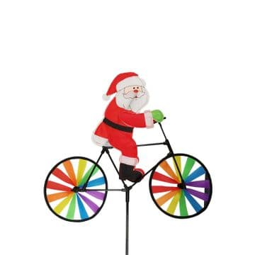 2 x OUTDOOR SANTA WINDMILL father christmas on bike decoration